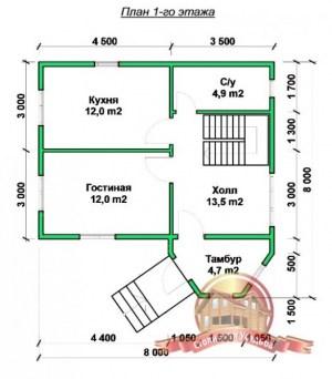 План 1 этажа оригинального коттеджа из бруса 8х8 для постоянного проживания