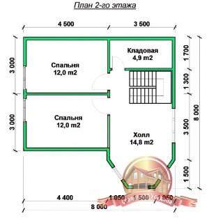 План 2 этажа оригинального коттеджа из бруса 8х8 для постоянного проживания