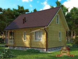 Проект шикарного дома из бревна с сауной
