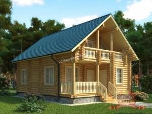 Дом из оцилиндрованного бревна 7.5х10 с балконом