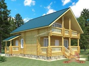 Проект дома из ОЦБ 9х9 с балконом и террасой