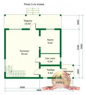 План 1 этажа дома из оцилиндрованного бревна 9.8х9 с террасой