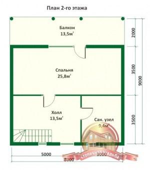 План 2 этажа дома из оцилиндрованного бревна 9.8х9 с террасой