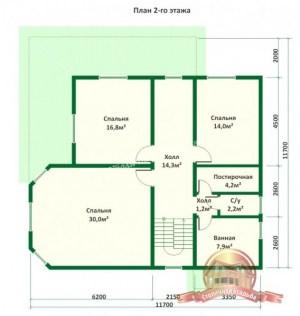 План 2 этажа проекта большого деревянного дома из ОЦБ с эркером