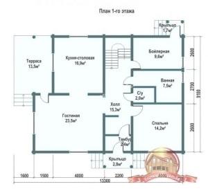 Планировка 1 этажа проекта дома из ОЦБ 9х13