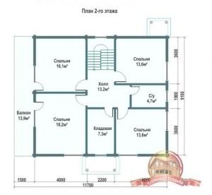 Планировка 2 этажа проекта дома из ОЦБ 9х13