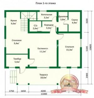 Дом из бревна с баней 10х11 в полтора этажа (1 этаж)