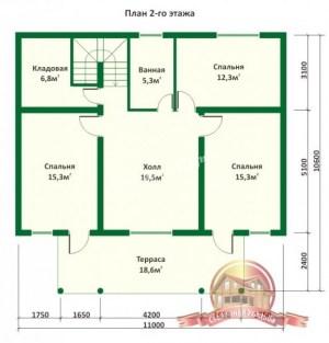 Дом из бревна с баней 10х11 в полтора этажа (2 этаж)