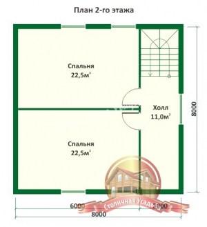 План 2 этажа дома из оцилиндрованного бревна 8х8 с верандой