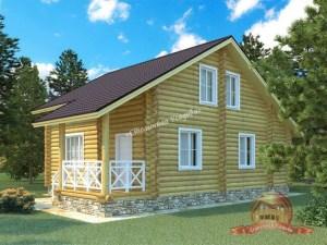 Дом из оцилиндрованного бревна 8х12 с крыльцом и тремя спальнями