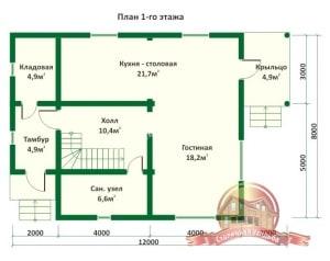 План 1 этажа проекта дома из оцилиндрованного бревна 8х12 с крыльцом и тремя спальнями