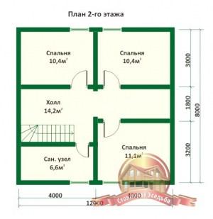 План 2 этажа проекта дома из оцилиндрованного бревна 8х12 с крыльцом и тремя спальнями