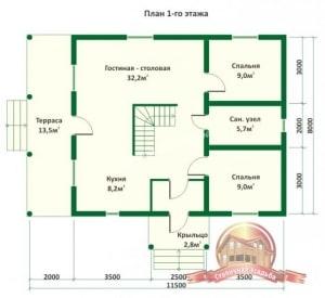 Планировка внутреннего пространства дома из оцилиндрованного бревна 8 на 11
