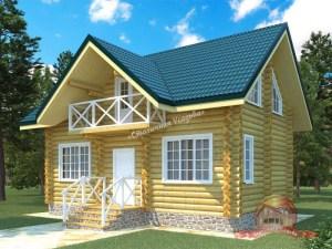 Проект дома из оцилиндрованного бревна 5.5х8.8 с ломаной крышей