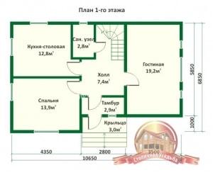 План 1 этажа проекта дома из бревна оцилиндрованного 6.8х10.6