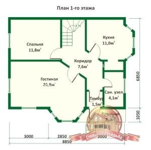 План 1 этажа дома из оцилиндрованного бревна 8х8.8 с башенкой