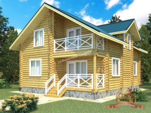 Проект дома из ОЦБ 8х10 с крыльцом и ломаной крышей