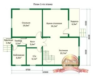 План 1 этажа проекта дома из ОЦБ 8х10 с крыльцом и ломаной крышей