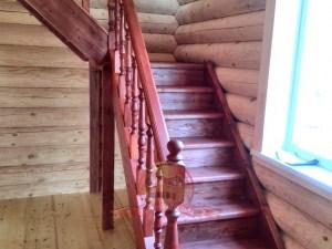 """Окрас лестницы в цвет """"темная вишня"""""""