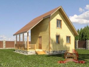 На первом плане большая открытая терраса деревянного дома 5х6