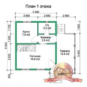 Планировка 1 этажа проекта дома из бруса 5х6 с террасой, под усадку