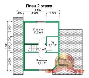 Планировка 2 этажа проекта дома из бруса 5х6 с террасой, под усадку