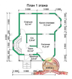 План 1 этажа дома из бруса 7х8 с эркером
