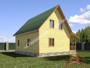 Дом из бруса 9 на 9 вид сбоку
