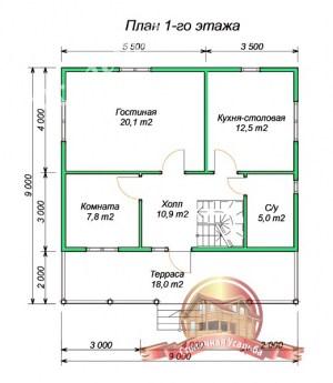 План 1 этажа проекта сруба из бруса 9х9