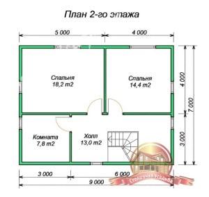 План 2 этажа проекта сруба из бруса 9х9