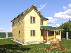 проект НБ-21:дом из бруса 10х11 с верандой