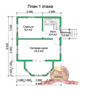 Планировка 1 этажа проекта дома из бруса 6х8. Обратите внимание на просторный эркер