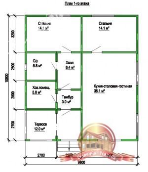 Планировка внутреннего пространства дома из бруса 9.8х10.9