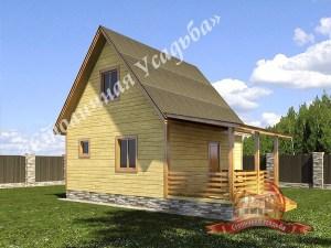 Летний дом из профилированного бруса 6х6 с крыльцом и террасой