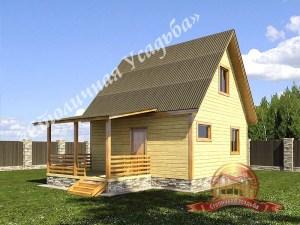 Дом из бруса с небольшой террасой 6х6