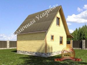 Вид на компактный брусовой дом 6х6