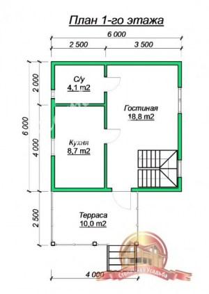 План 1 этажа проекта небольшого дома из бруса 6х6