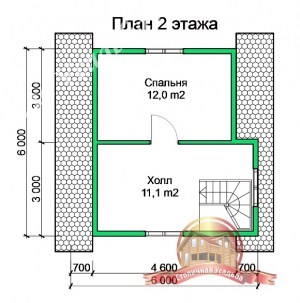 План 2 этажа проекта дома из бруса 4 на 6 с террасой