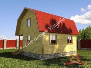 Проект брусового дома 10 на 10 с двумя спальнями