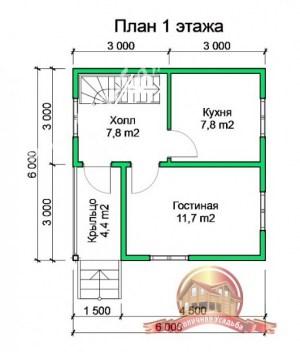 План 1 этажа проекта дома из бруса 10х10 под усадку