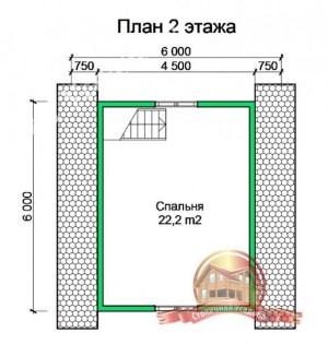 План 2 этажа проекта дома из бруса 10х10 под усадку