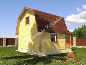 Вид сбоку на дом из бруса 6х9 с террасой