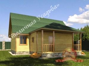Проект дома из бруса 9.5х13 с террасой