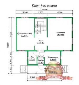 Планировка нижнего этажа дома из бруса 9.5х13