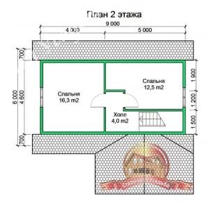 Планировка 2 этажа проекта дома из профилированного бруса естественной влажности 10х10