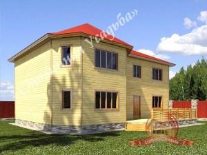 Дом из профилированного бруса 9х9 с ломаной крышей