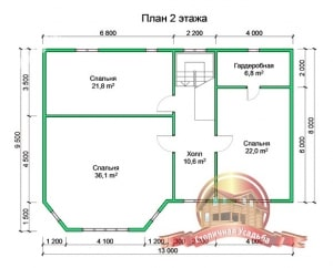 План 2 этажа проекта дома из профилированного бруса. В архитектуру включен эркер