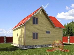Сруб дома из бруса с трехфронтонной крышей