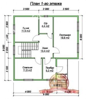 Планировка 1 этажа проекта дома из бруса 9х12