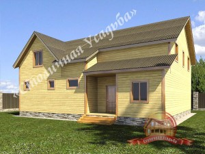 Проект дома из бруса с открытой террасой и удачной планировкой 7 на 10